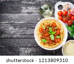 pasta bolognese with tomato...   Shutterstock . vector #1213809310