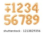 gold foil numbers  1  2  3  4 ... | Shutterstock . vector #1213829356