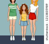short girl is standing with a... | Shutterstock .eps vector #1213835989