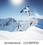 snowboard jumping in high... | Shutterstock . vector #121385920