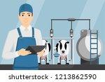 farmer with digital tablet on a ... | Shutterstock .eps vector #1213862590