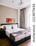 bedroom interior in light...   Shutterstock . vector #1213870636