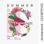summer slogan with flower s... | Shutterstock .eps vector #1213879123
