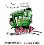 green retro cartoon locomotive...