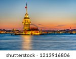 maiden's tower or kiz kulesi... | Shutterstock . vector #1213916806