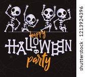 happy halloween party skeletons ...   Shutterstock .eps vector #1213924396