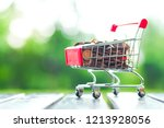 supermarket trolley with coins...   Shutterstock . vector #1213928056