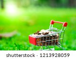 supermarket trolley with coins...   Shutterstock . vector #1213928059