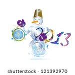 snowman and new yeas clock...   Shutterstock .eps vector #121392970