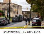 Small photo of Pittsburgh, Pennsylvania / USA – Oct 27 2018: Police and FBI gather outside of Tree of Life synagogue in Pittsburgh, the scene of Saturday morning's mass shooting.