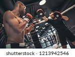 afro american boxer in gloves... | Shutterstock . vector #1213942546