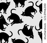 halloween seamless pattern cat... | Shutterstock .eps vector #1213946200