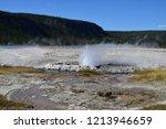 erupting cliff geyser  near... | Shutterstock . vector #1213946659