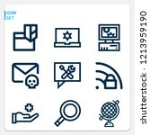 simple set of  9 outline icons... | Shutterstock .eps vector #1213959190