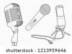 microphones vector outline and ... | Shutterstock .eps vector #1213959646