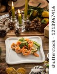 seafood green salad with salmon ... | Shutterstock . vector #1213967416