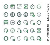 set of time related vector line ...