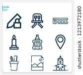 simple set of  9 outline icons... | Shutterstock .eps vector #1213972180