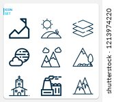 simple set of  9 outline icons... | Shutterstock .eps vector #1213974220