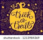 trick or treat  handdrawn... | Shutterstock .eps vector #1213984369