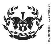 military symbol  spartan helmet ... | Shutterstock . vector #1213986199