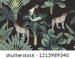 tropical vintage monkey ... | Shutterstock .eps vector #1213989340