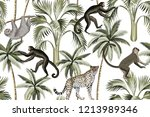 tropical vintage monkey  sloth  ... | Shutterstock .eps vector #1213989346