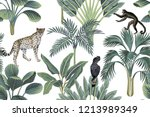 tropical vintage monkey ... | Shutterstock .eps vector #1213989349