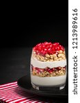 pomegranate parfait   sweet... | Shutterstock . vector #1213989616