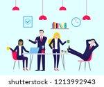 coffee break colleagues in... | Shutterstock .eps vector #1213992943