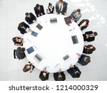 view from the top.meeting of... | Shutterstock . vector #1214000329