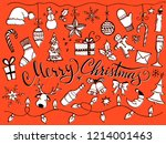 doodle christmas decor set and... | Shutterstock .eps vector #1214001463