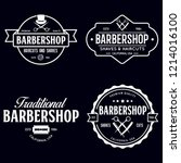 set of vintage barbershop... | Shutterstock .eps vector #1214016100