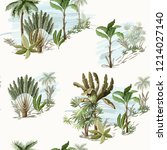 seamless pattern with exotic... | Shutterstock .eps vector #1214027140