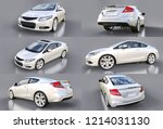 Stock photo set white small sports car coupe d rendering 1214031130