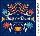 day of the dead floral wreath... | Shutterstock .eps vector #1214033806