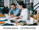 male and female students... | Shutterstock . vector #1214041036