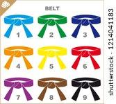 set colored belts for martial... | Shutterstock .eps vector #1214041183