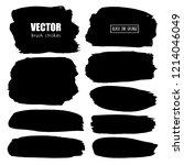 set of brush stroke  black ink... | Shutterstock .eps vector #1214046049