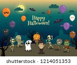 happy halloween party vector... | Shutterstock .eps vector #1214051353