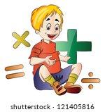 boy learning math  vector... | Shutterstock .eps vector #121405816