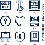 simple set of  9 outline icons... | Shutterstock .eps vector #1214067790