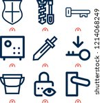 simple set of  9 outline icons... | Shutterstock .eps vector #1214068249