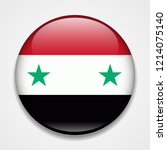 flag of syria. round glossy... | Shutterstock .eps vector #1214075140