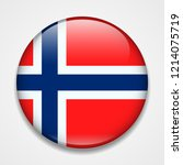 flag of norway. round glossy... | Shutterstock .eps vector #1214075719