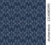 indigo blue damask seamless... | Shutterstock .eps vector #1214080390