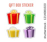 vector cartoon set of gift... | Shutterstock .eps vector #1214081023