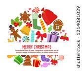 vector objects of christmas  ... | Shutterstock .eps vector #1214081029