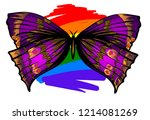 purple and pink butterfly on... | Shutterstock .eps vector #1214081269