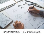 graphic designer drawing sketch ... | Shutterstock . vector #1214083126